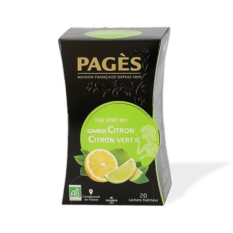 Thé vert bio Boîte de 20 sachets - 36g - Saveur Citron Citron vert