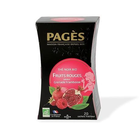 Thé noir bio saveur Grenade Framboise Boîte de 20 sachets - 36g - Fruits Rouges